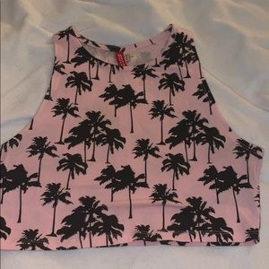 Palm tree graphic crop top